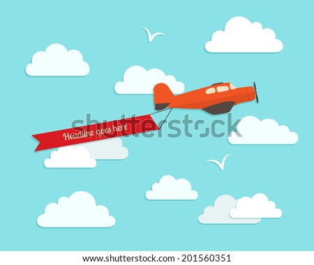 Airplane in the cloudy sky. Flat vector illustration. - stock vector