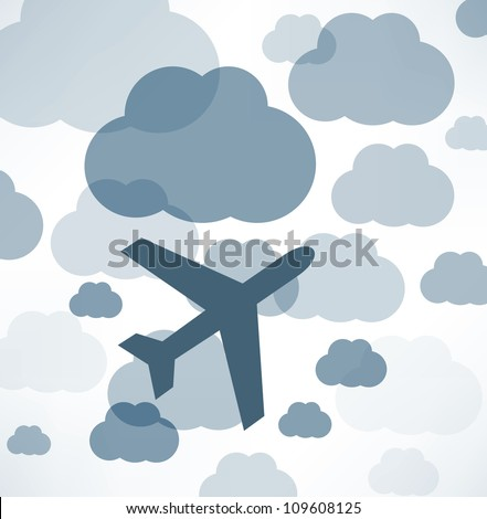 airplane in the sky - stock vector
