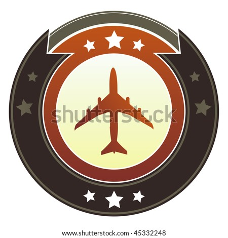 Airplane, jet, or airport transportation icon on round red and brown imperial vector button with star accents - stock vector