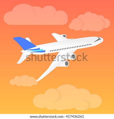 Airplane landing at sunset. Flight of the plane in the sky. Passenger planes, airplane, aircraft, flight, clouds, sky. Vector illustration - stock vector