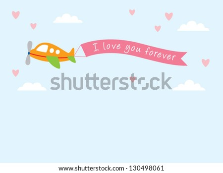 airplane love announcement tag - stock vector