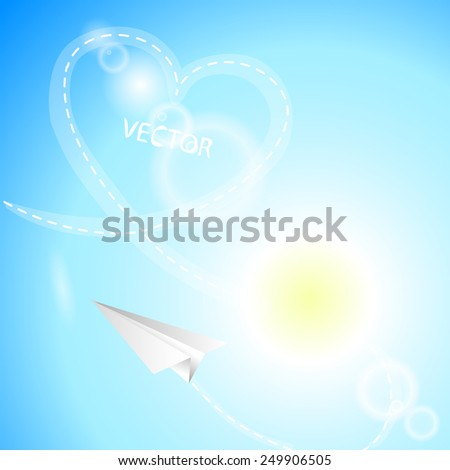 Airplane made of white paper, heart and sun on the sky background. Vector illustration. - stock vector