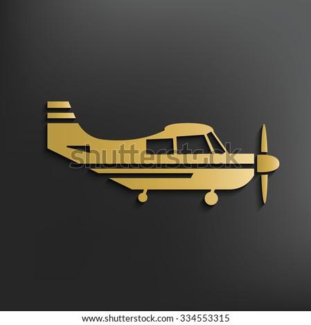 Airplane on dark background,clean vector - stock vector