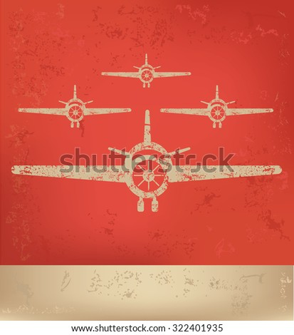 Airplane on red background,poster grunge design - stock vector