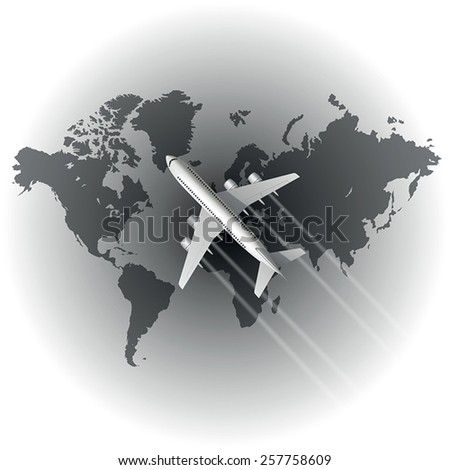 Airplane over the world map. Vector illustration - stock vector