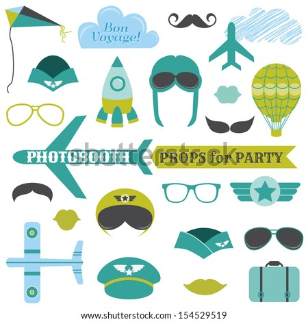 Airplane Party set - photobooth props - glasses, hats, planes, mustaches, masks - in vector - stock vector
