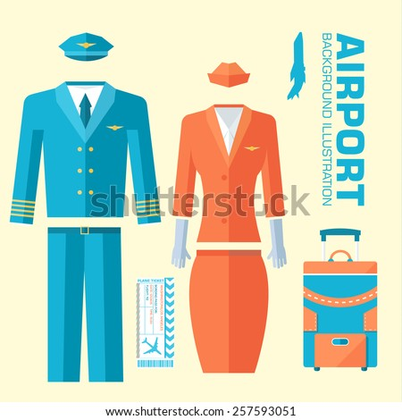 airplane pilot and stewardess uniform on flat style background concept. Vector illustration for colorful template for you design, web and mobile applications - stock vector