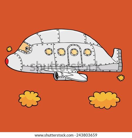 Airplane pilot flying empty jet over orange sky - stock vector