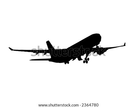 airplane rear view silhouette - vector eps format - stock vector