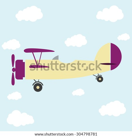 airplane retro and clouds - stock vector