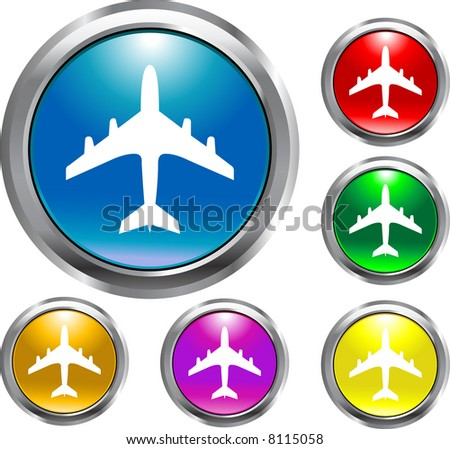 Airplane Round Buttons - stock vector