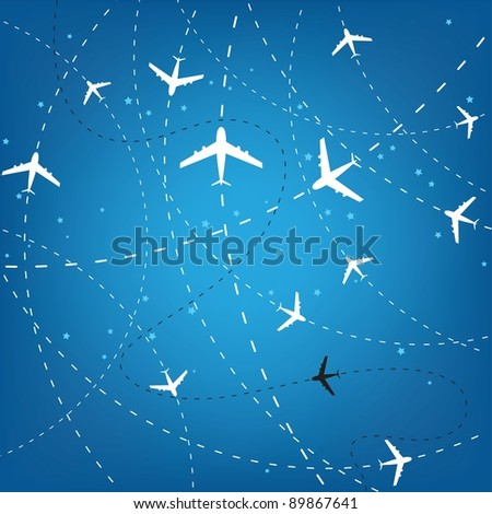 Airplane Routes And Stars - stock vector
