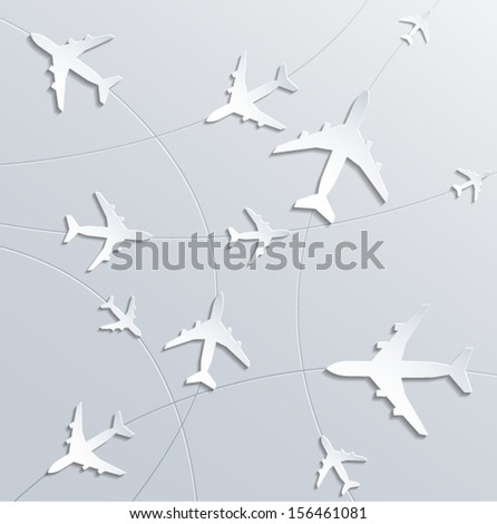 airplane routes. 3d paper design. vector eps10.  - stock vector