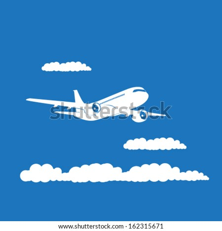 Airplane's silhouette with clouds on blue background. EPS10 vector. - stock vector