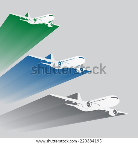 Airplane's silhouettes with color trace. EPS10 vector. - stock vector