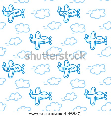 airplane seamless pattern vector. Isolated white background in cartoon style. Can be used for nursery wallpapers or wrapping paper - stock vector