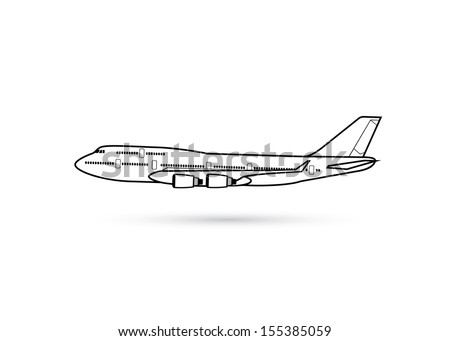 Airplane - side view - vector illustration - stock vector