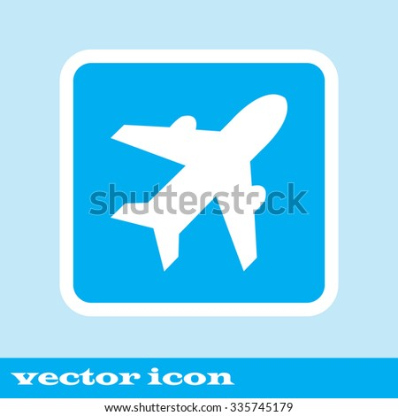 Airplane sign. Plane symbol. Travel icon. Flight flat label. Classic flat icon. Vector illustration - stock vector