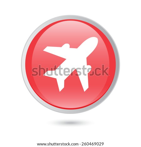 Airplane sign. Plane symbol. Travel icon. Flight flat label.  red glossy button. - stock vector