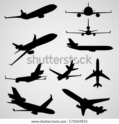 Airplane Silhouettes | EPS10 Vector - stock vector