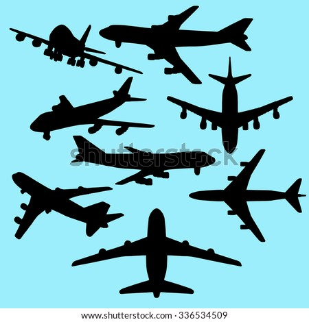 airplane silhouettes vector set