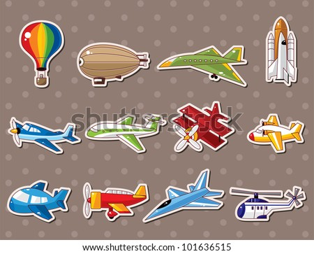 airplane stickers - stock vector