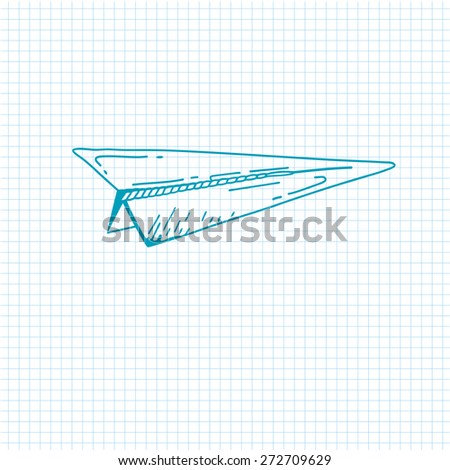 airplane symbol. Doodle style paper airplane icon. Hand drawn Sketch sign of airplane. Vector airplane. Eps 8 - stock vector