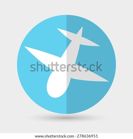 airplane symbol on a white background - stock vector