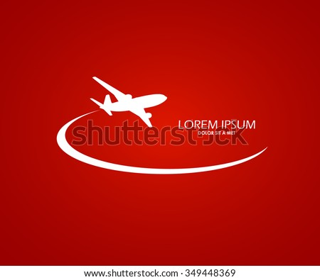 Airplane symbol red and white logo design - stock vector