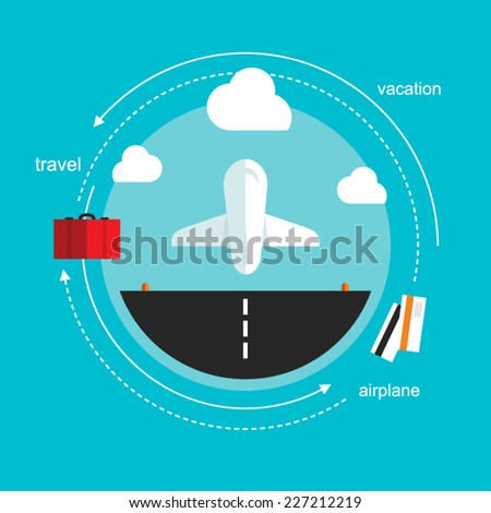 airplane takeoff travel, flat design illustration vector - stock vector