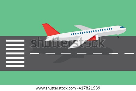 airplane taking off or landing from the runway - stock vector