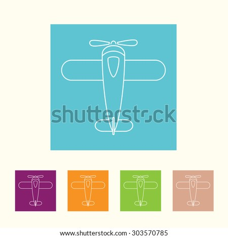 airplane thin line icon set