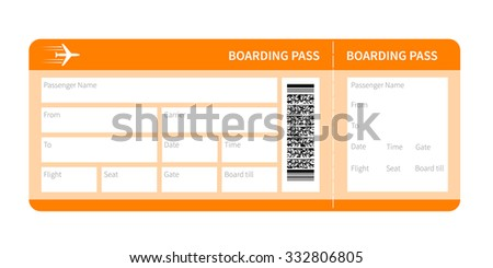 Airplane ticket blank space. yellow boarding pass coupon isolated on white background. Vector illustration - stock vector