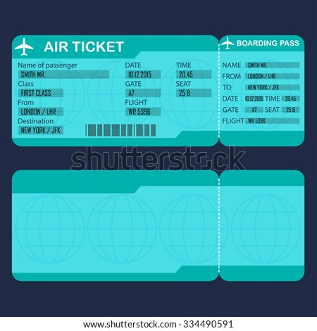 Airplane ticket. Detailed blank of air ticket. Vector illustration. - stock vector