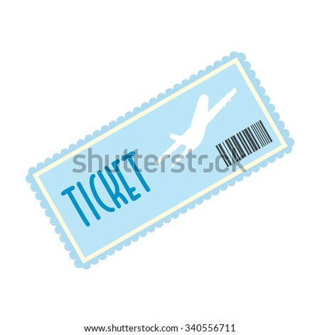 Airplane ticket flat icon isolated on white background - stock vector
