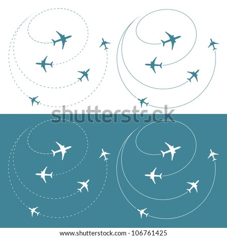 Airplane traffic around the world - vector illustration - stock vector