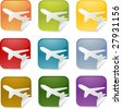 Airplane transport cargo logistics sticker icon, multiple color set - stock vector