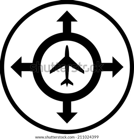 Airplane transportation travel destinations vector icon - stock vector