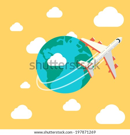Airplane Travel - stock vector