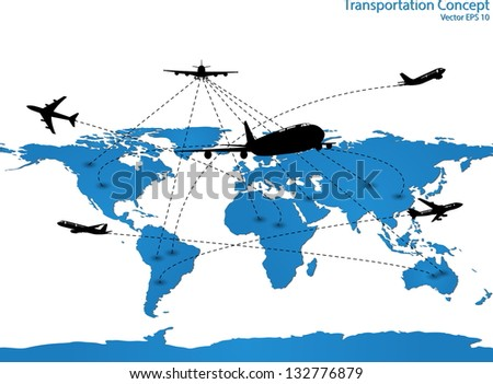 Airplane Travel Around the World for Transportation Concept Vector Illustration Icon, EPS 10. - stock vector