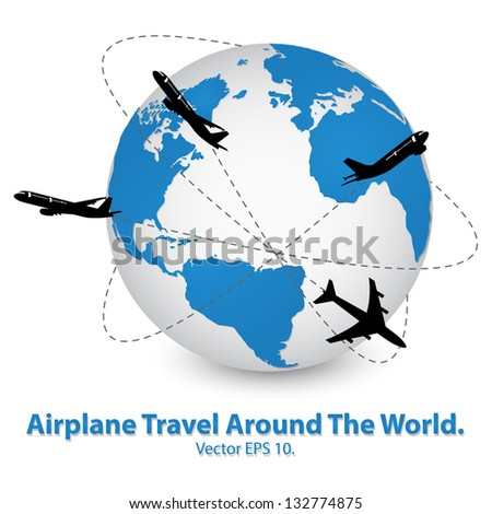 Airplane Travel Around the World Vector Illustration Icon, EPS 10. - stock vector