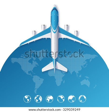 Airplane Travel Concept From The World Map. Vector illustration - stock vector
