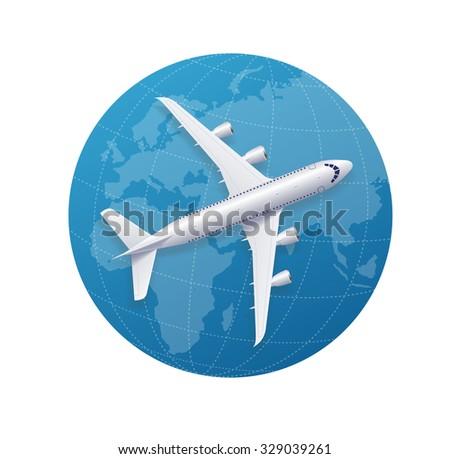 Airplane Travel Concept Over The Globe. Vector illustration - stock vector