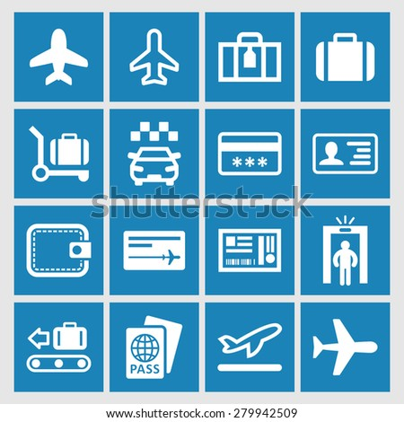Airplane travel icons