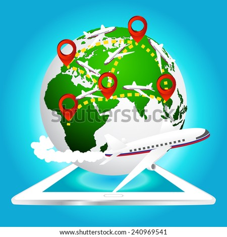 airplane travels around the world with pin icon on tablet, Elements of earth map Furnished by NASA. - stock vector