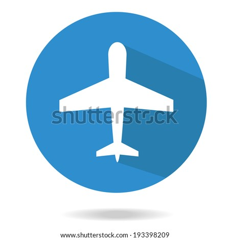 Airplane trendy icon. Plane on a blue circle. Flat style vector illustration. ?ommercial fleet - stock vector