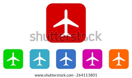 airplane vector icon set - stock vector
