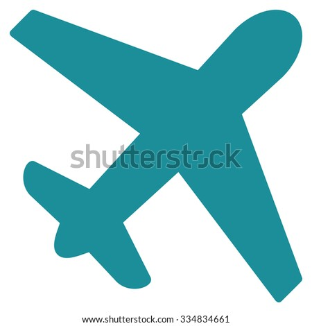 Airplane vector icon. Style is flat soft blue symbol, rounded angles, white background.