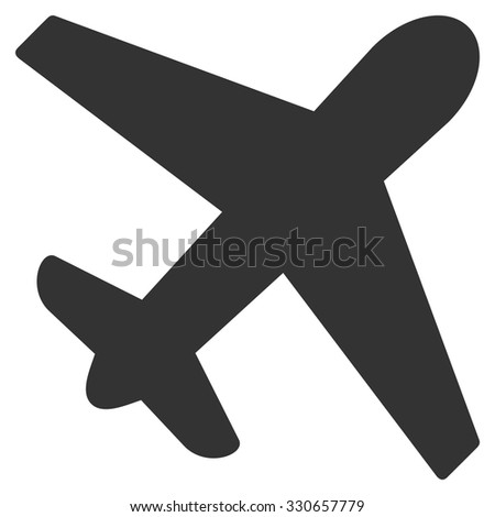 Airplane vector icon. Style is flat symbol, rounded angles, white background.