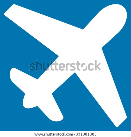 Airplane vector icon. Style is flat white symbol, rounded angles, blue background.